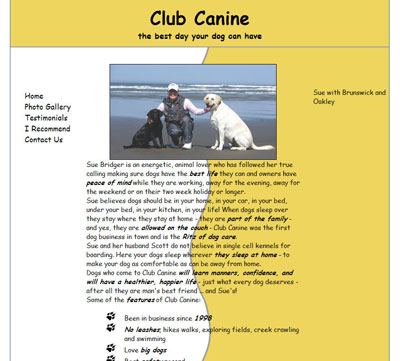 Club Canine Doggy Day Care Web site